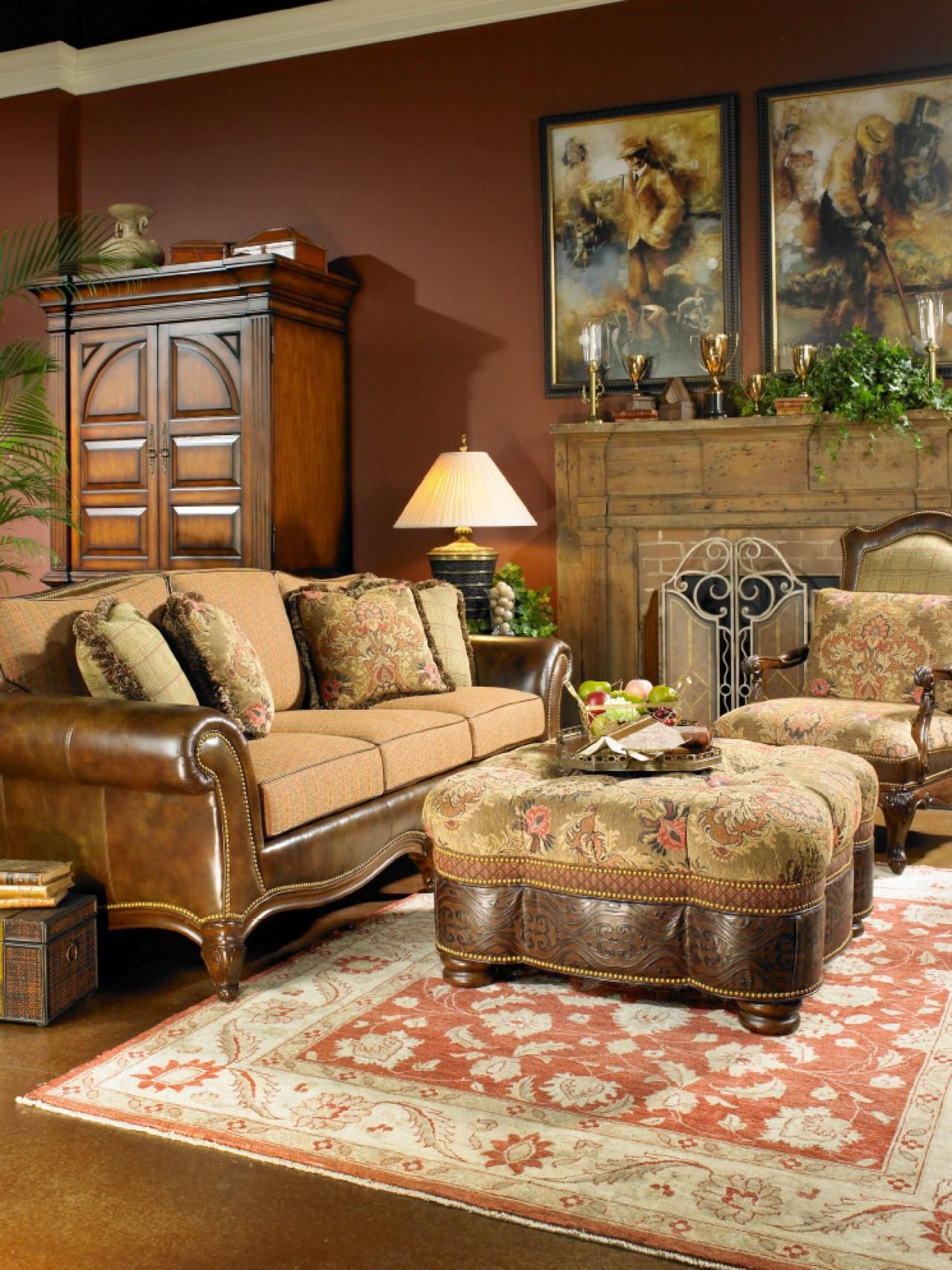 This Masculine Living Room Features A Warm Color Palette And Best Interior Design Living Room Traditional Review