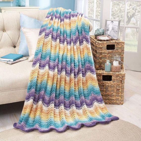 Tropical Splendor Multi Colors Ripples and Waves Afghan Knit Afghan ...