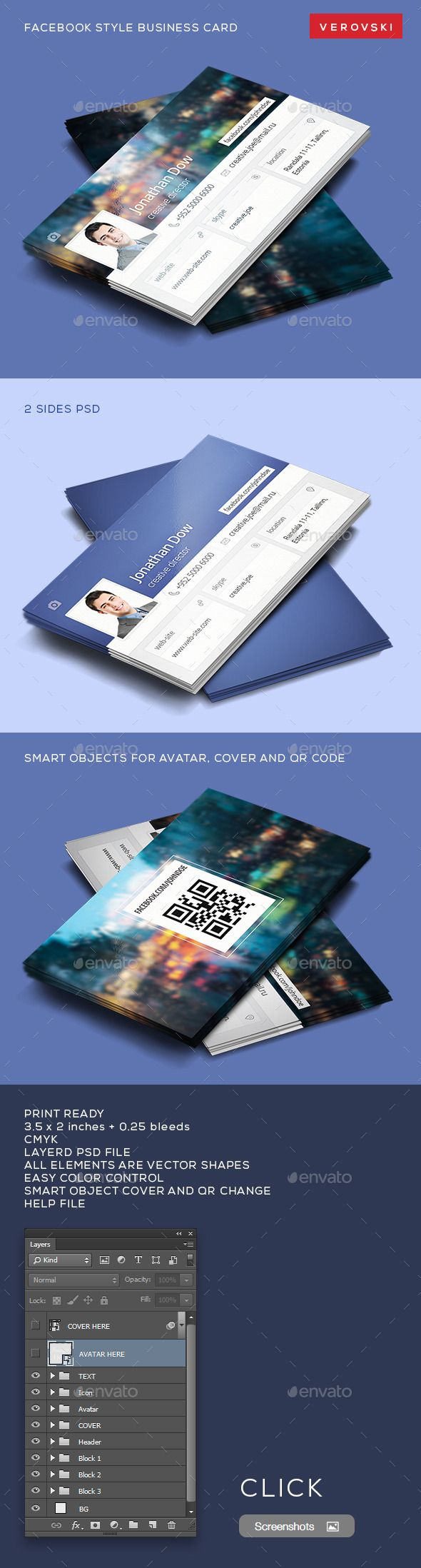 Facebook style business card pinterest business cards card facebook style business card template psd facebookbusinesscard buy and download http accmission Choice Image