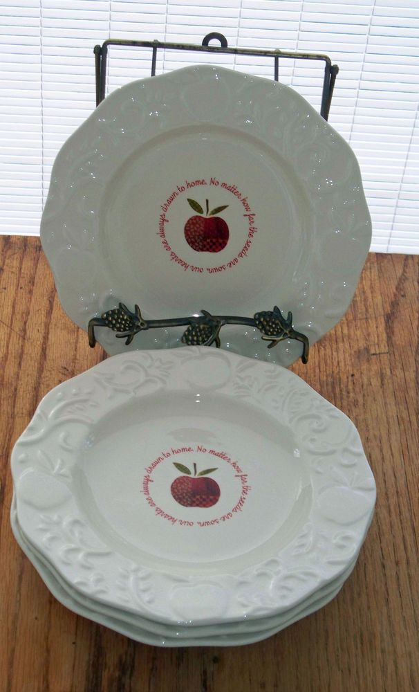 Cracker Barrel Apple Collection Salad Dessert Plates Lot 4 Dishwasher Microwave Cracker Barrel Dessert Plate Tableware