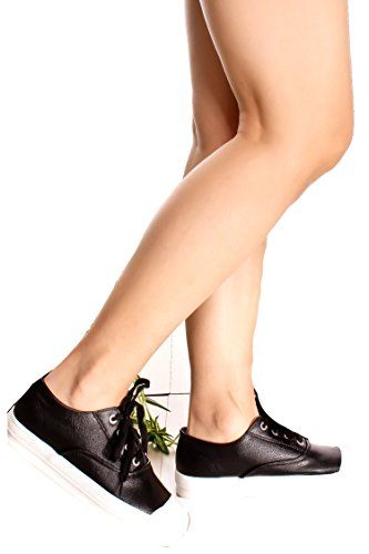 SIGNATURE FAUX LEATHER | ROUND TOE LACE SNEAKER 75 Negro | LEATHER Lady Zapatos dcc3cd