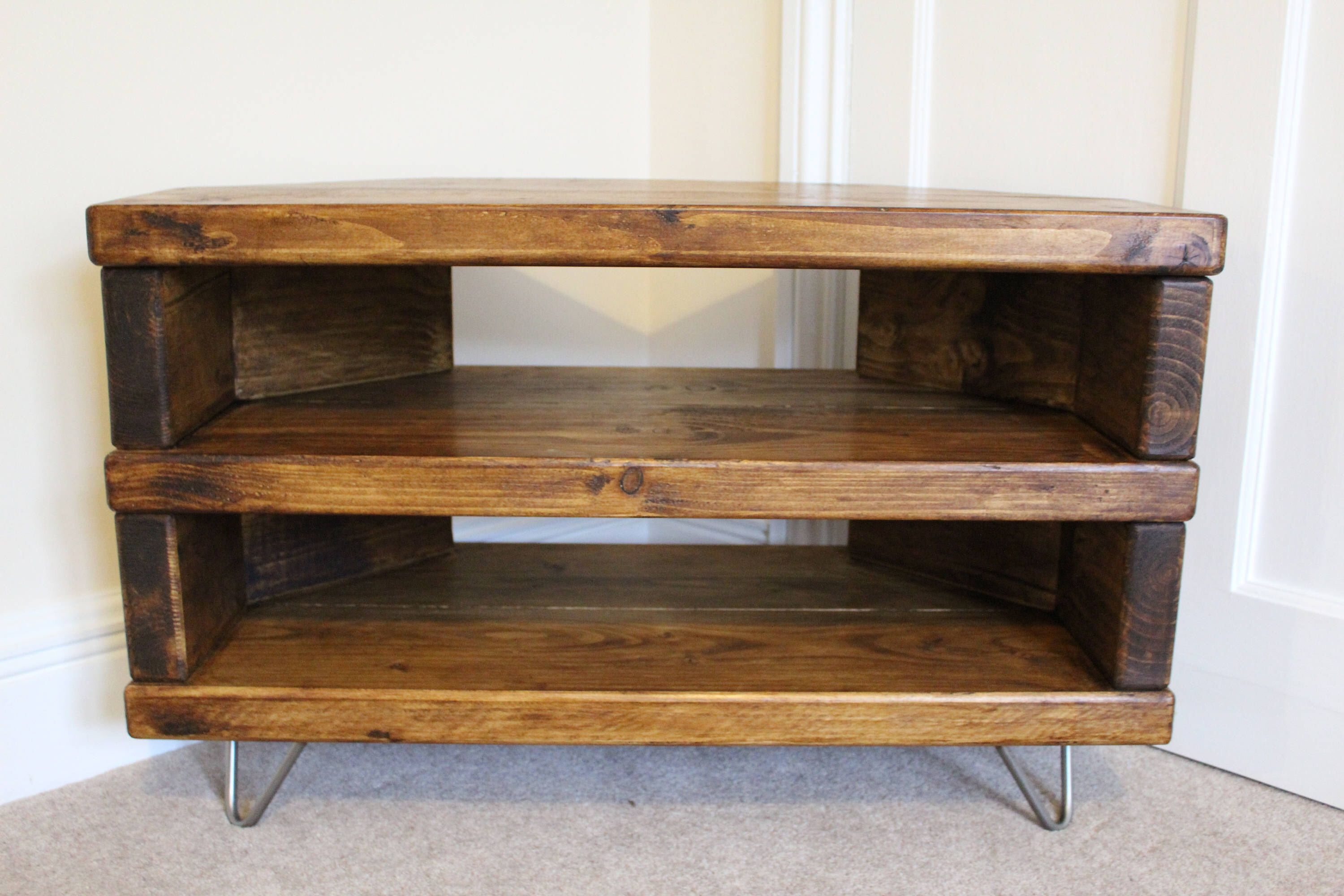 reputable site c6a35 0c4c5 Reclaimed rustic wooden corner tv stand cabinet unit solid ...