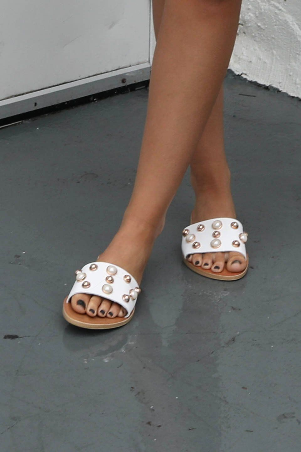 b770381ad82b Second Chance White Studded Sandal