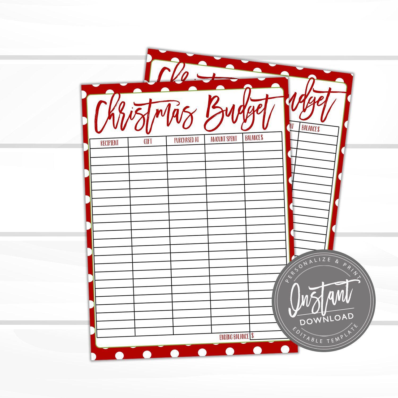 Editable Christmas Budget Printable Christmas T