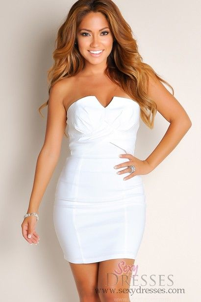 8ff7af5d936 All White Blissful Daydream Solid Color Strapless Tube Top Club Dress