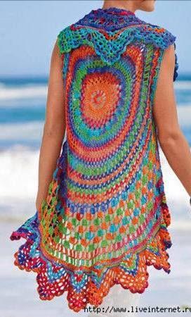 b0e1ef474de164 Häkelmuster-Fundgrube  runde ärmellose Weste Love the colors ...