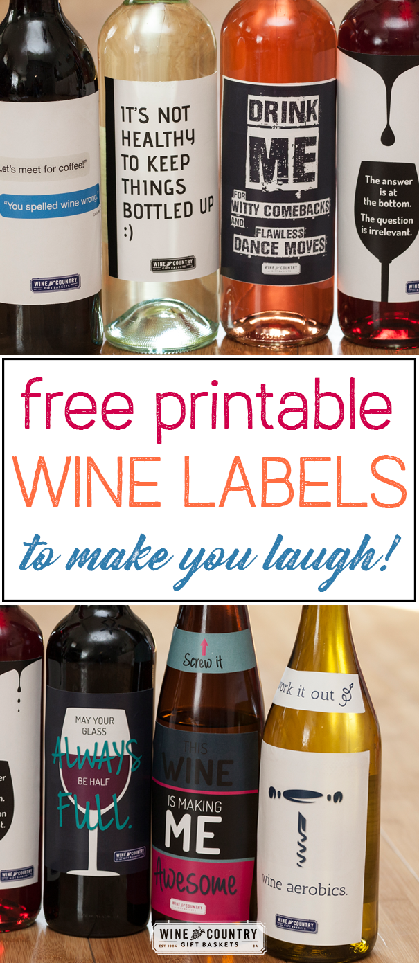 FREE Print-At-Home Wine Bottle Labels Article Description: These printable wine bottle labels are just