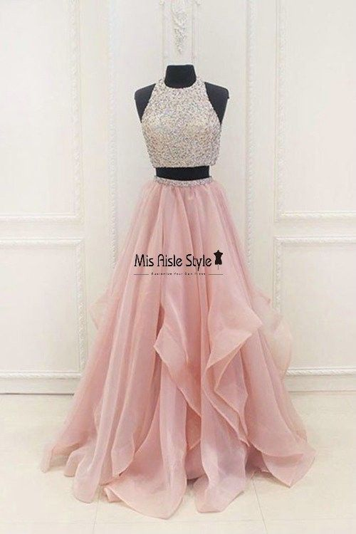 Sexy Blush Organza Pink Beaded Two Pieces Prom Dress | Sparkle ...
