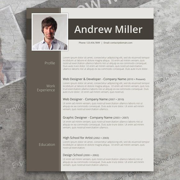 Word Resume Template By Visual Impact On Creativemarket  Fiber