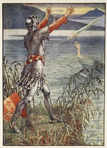 Sir Bedivere casts the sword Excalibur into the Lake, from 'Stories of the Knights of the Round Table' by Henry Gilbert, first edition, 1911 by Walter Crane