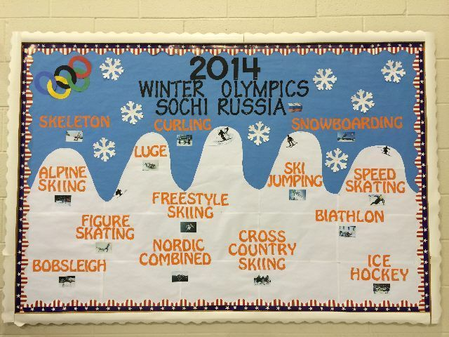 Classroom Olympics Ideas ~ Winter olympics bulletin board wintertime in the