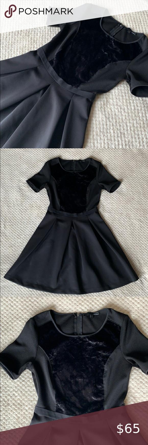 Elie Tahari Black Dress With Crushed Velvet Perfect Little Black Dress Clothes Design Tahari Dress [ 1740 x 580 Pixel ]