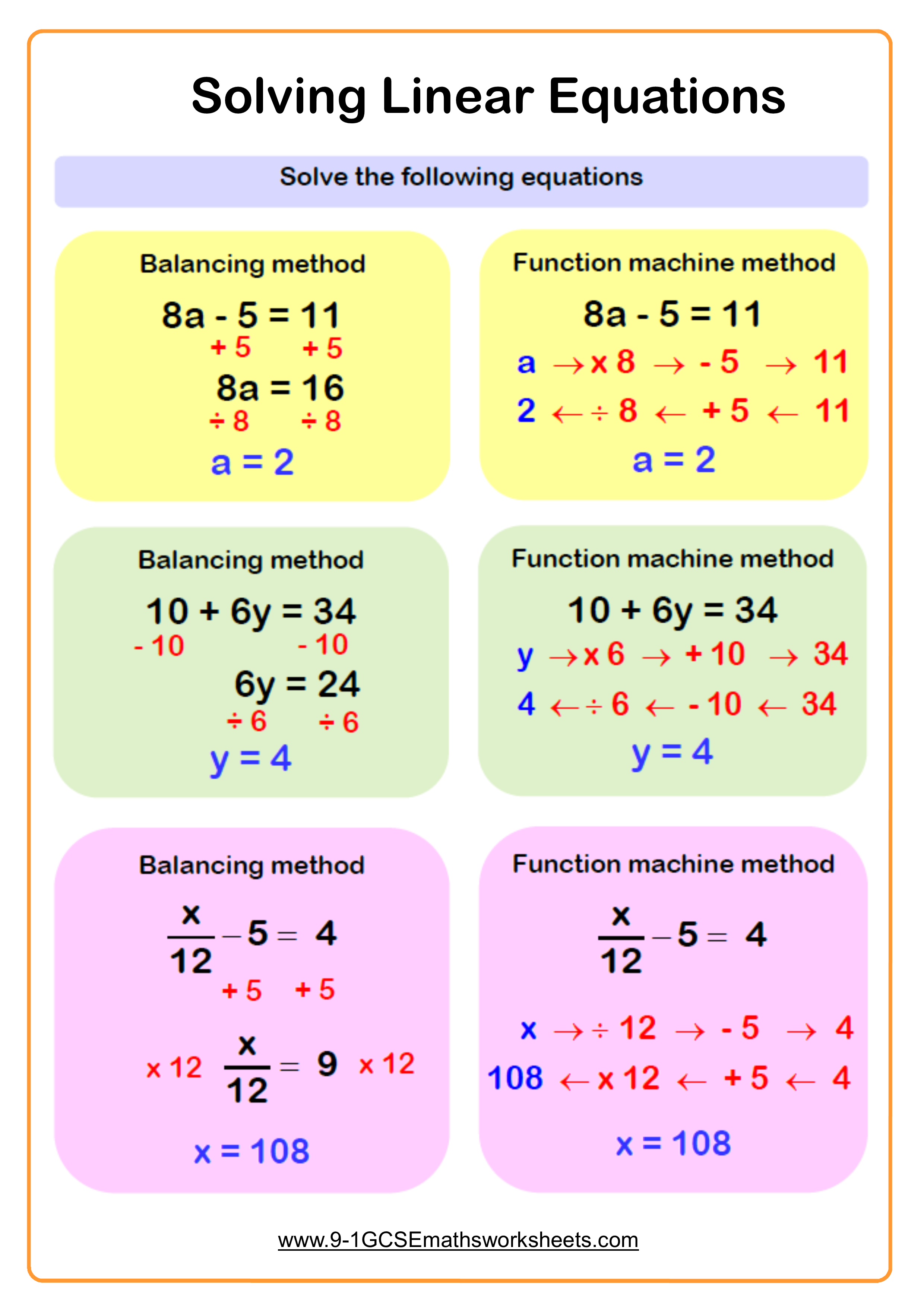 Solving Equations Worksheets Cazoom Maths Worksheets Solving Linear Equations School Algebra Algebra Worksheets