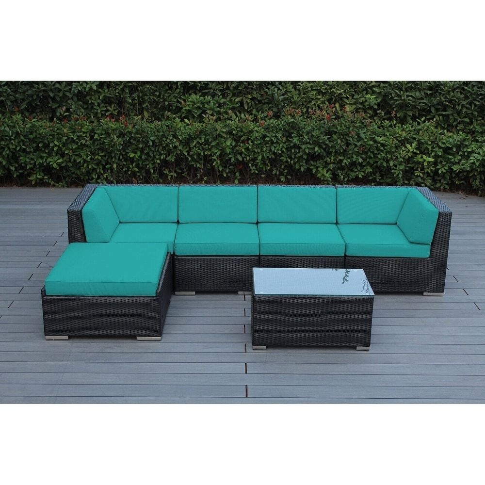 Ohana Outdoor Patio 6 Piece Black Wicker Sofa Sectional with ...