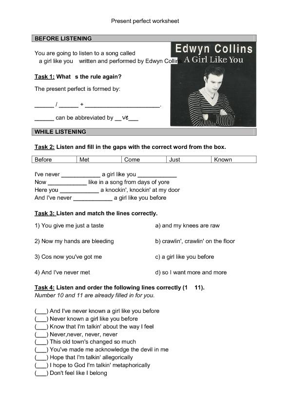 Song Worksheet Girl Like You Present Perfect Teaching English