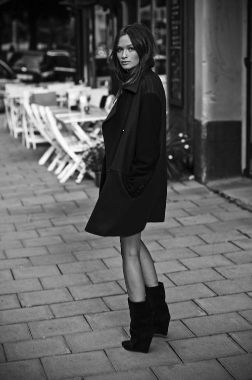 Black coat + suede ankle boots