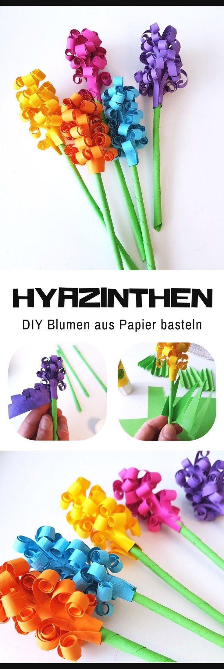 Hyazinthen aus Papier basteln: DIY Blumen für den Frühling #frühlingblumen