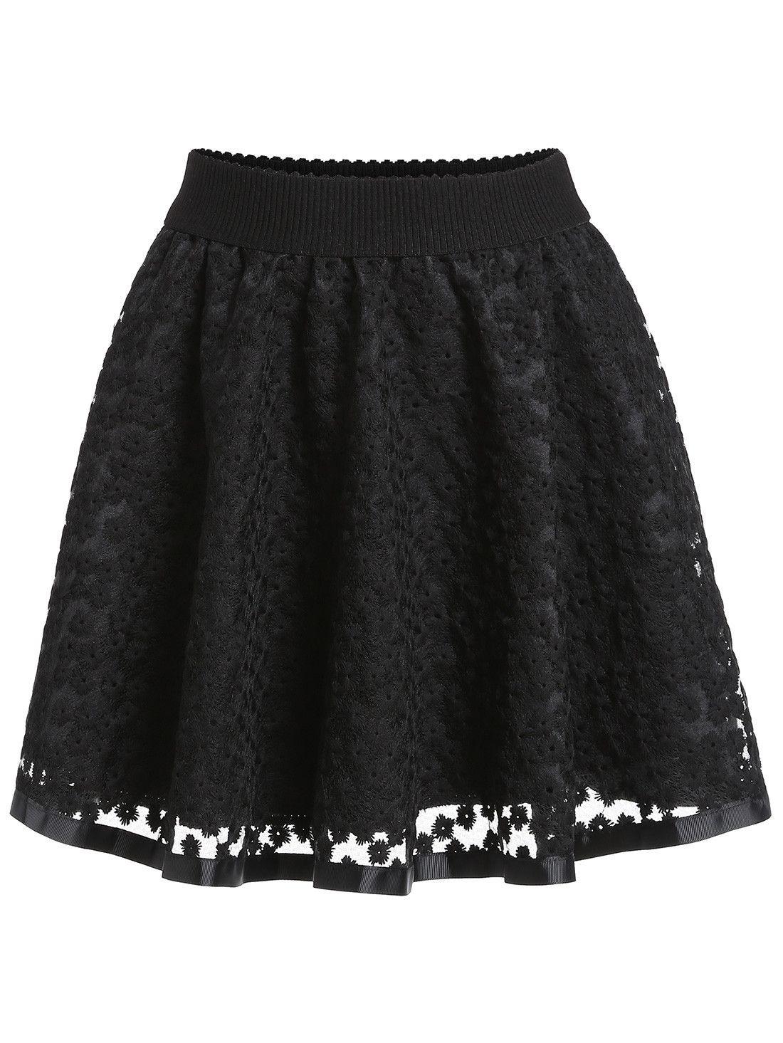 colores y llamativos Boutique en ligne precio razonable Falda bordada encaje con vuelo-(Sheinside) | Faldas en 2019 ...