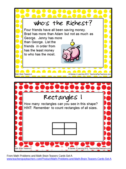 FREEBIE Math Brain Teasers The kids love having their