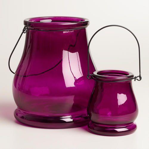 I LOVE THE COLOUR. - One of my favorite discoveries at WorldMarket.com: Purple Glass Teardrop Lantern Candleholder