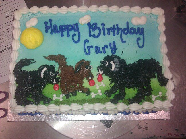 1/4 Sheet three dogs drawing cake (my first ever drawing cake done @ SLP Byerly's)
