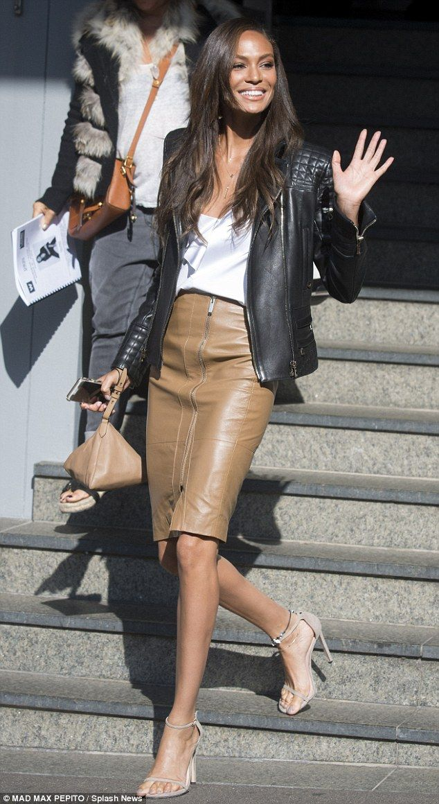 Joan Smalls wears leather jacket and tight fitting skirt in Sydney ...
