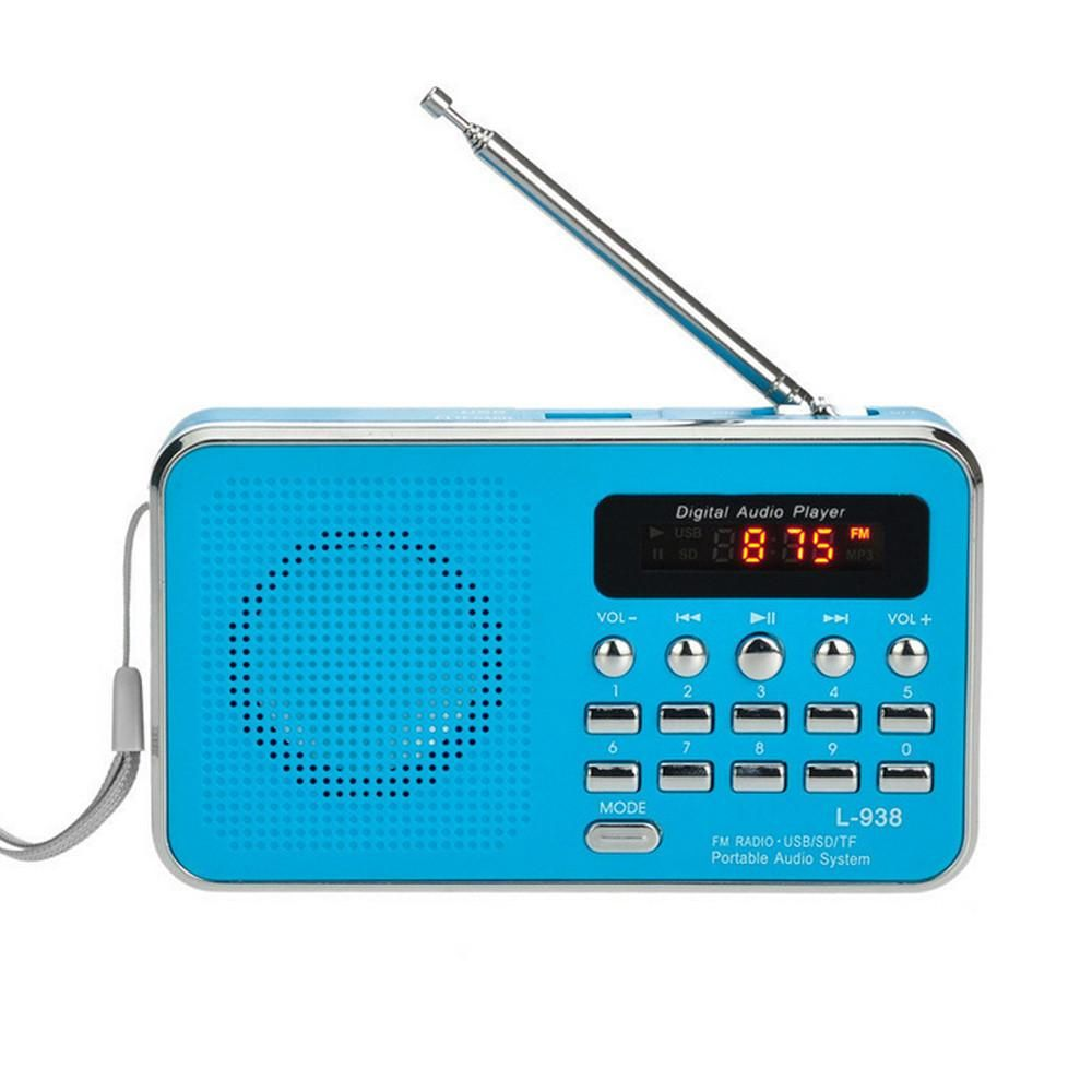 Mini Portable FM Radio Digital LED Light Stereo Speaker MP3 Player AUX USB TF SD