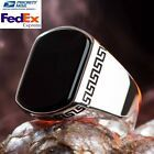 Details about Black ONYX MENS RING in Solid Fine Silver 925 with Natural Stone sizes 9 to 11