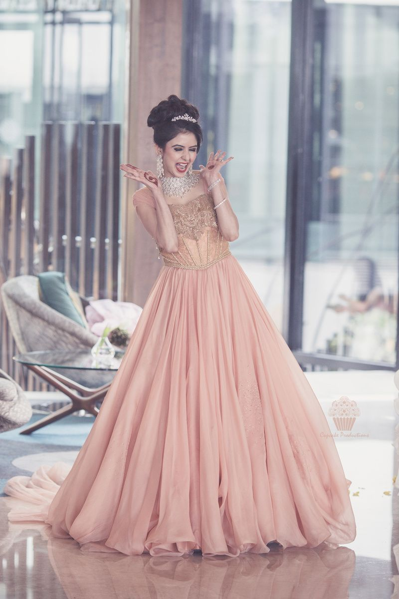 Photo Of Peach Engagement Gown By Shantanu Nikhil Engagement Gowns Indian Wedding Gowns Reception Gown