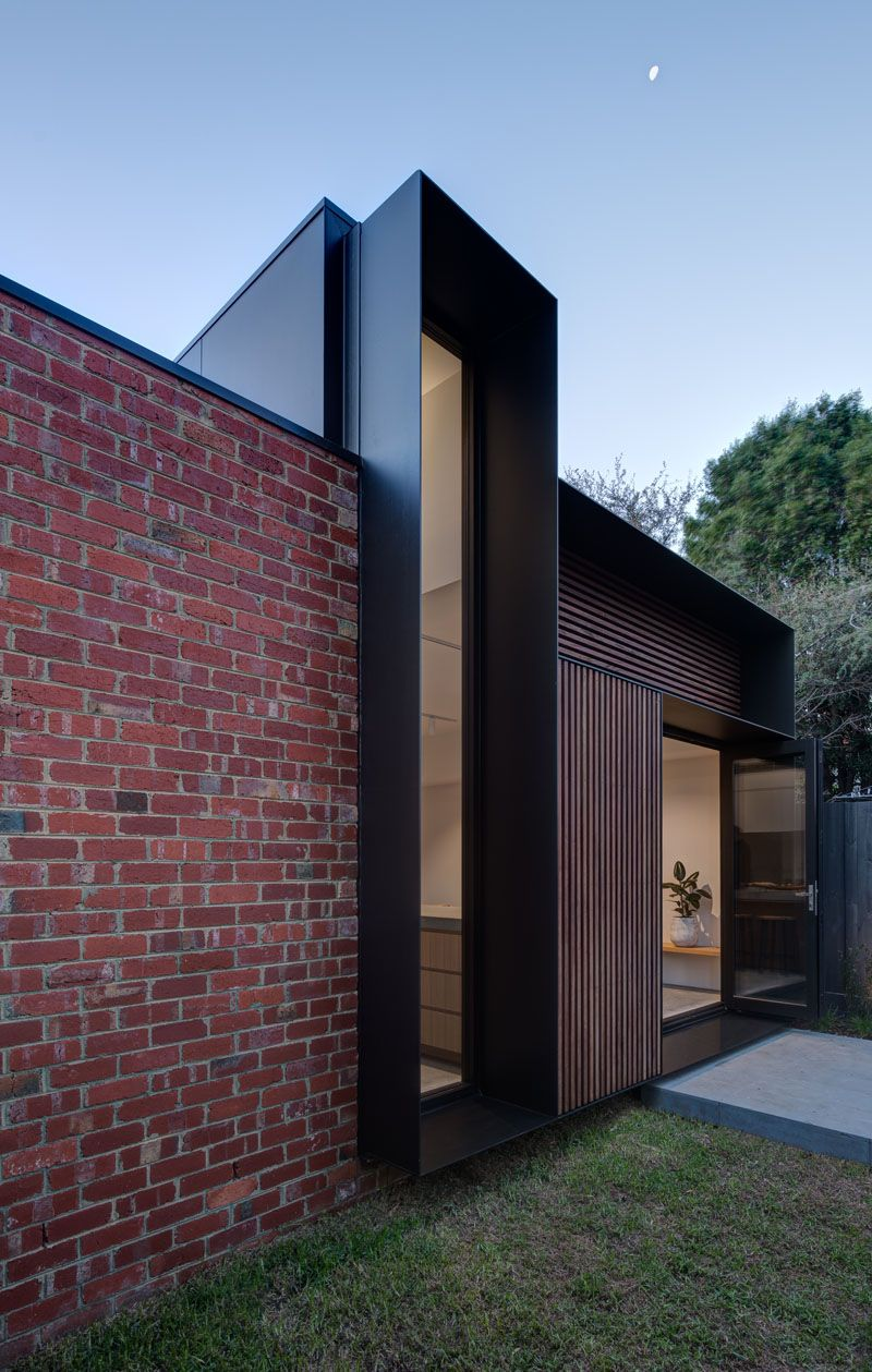 This House Addition Has Forms Arranged In A Tetris Like Configuration Brick Exterior House Modern Brick House Red Brick House