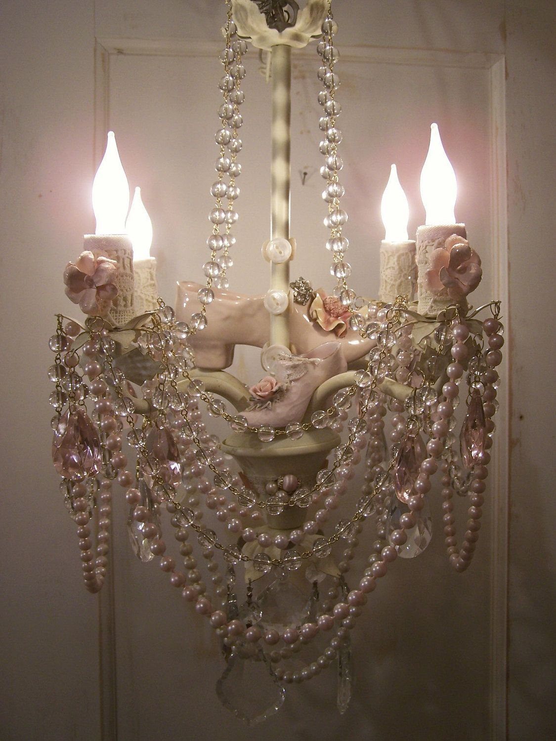 Pink posh shabby chic crystal chandelier embellished to perfection pink posh shabby chic crystal chandelier embellished to perfection 26900 via etsy arubaitofo Images