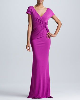 Knot-Front Fitted Gown by Badgley Mischka at Neiman Marcus.