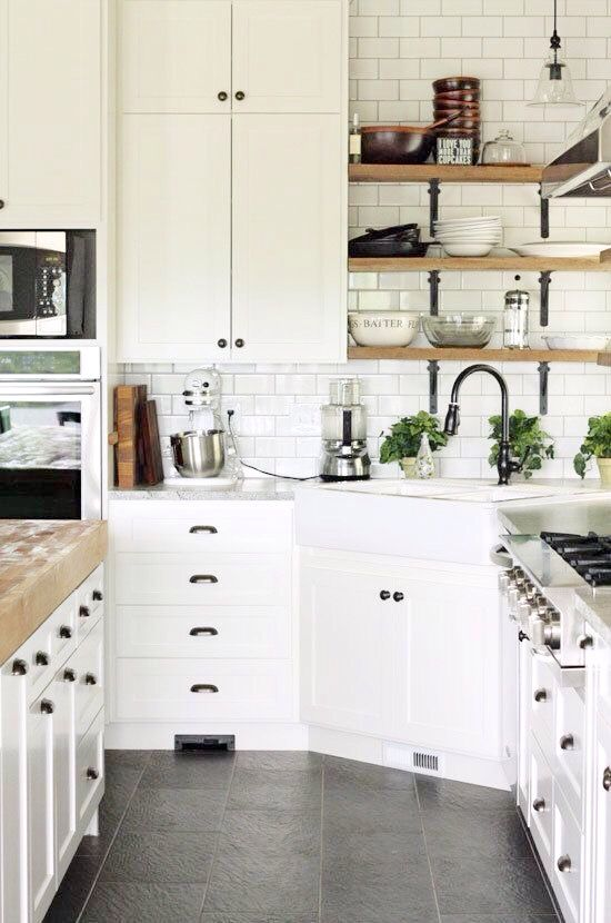 Small White Kitchen Ideas Part - 49: White Kitchen Subway Tile And Exposed Shelves And Corner Sink