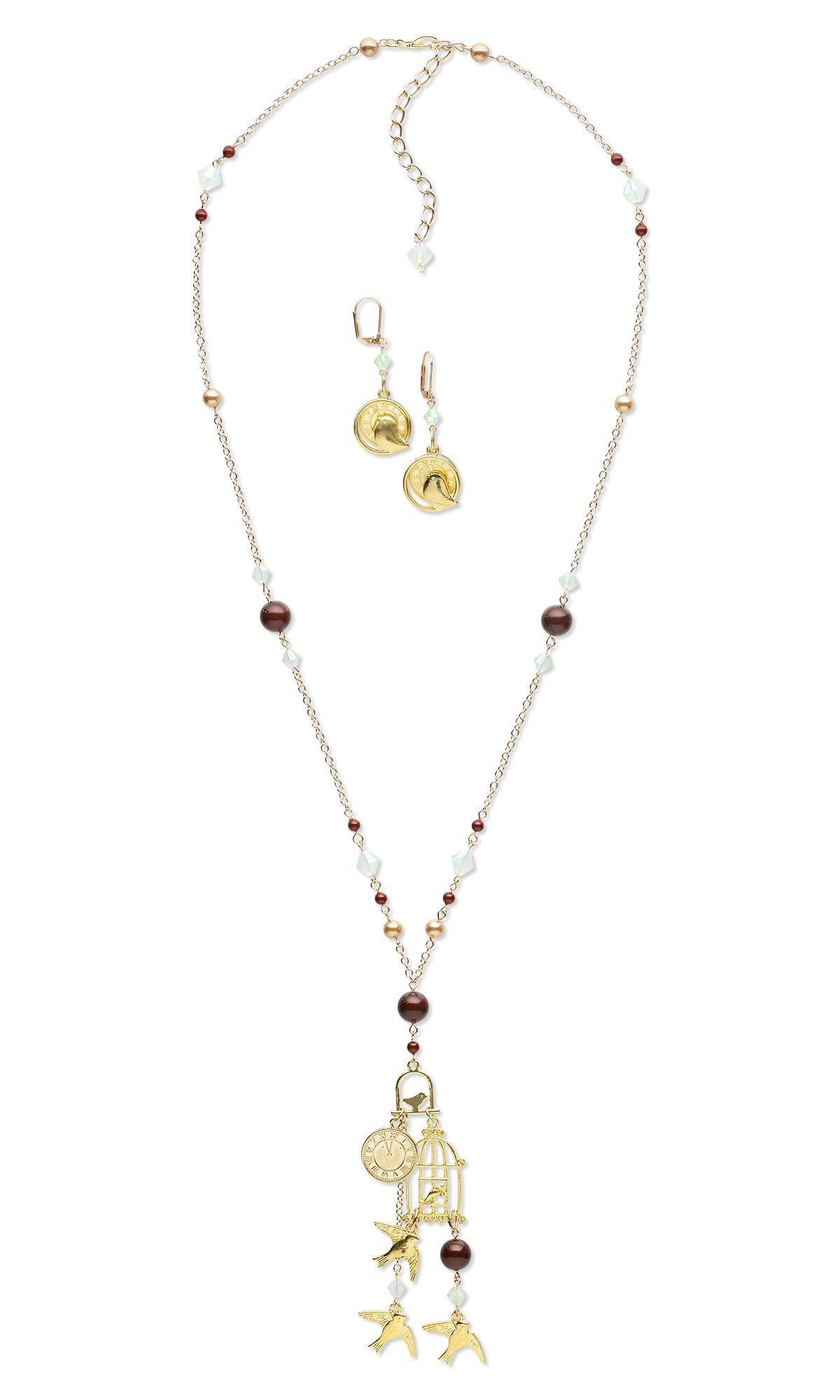 Jewelry design singlestrand necklace and earring set with gold