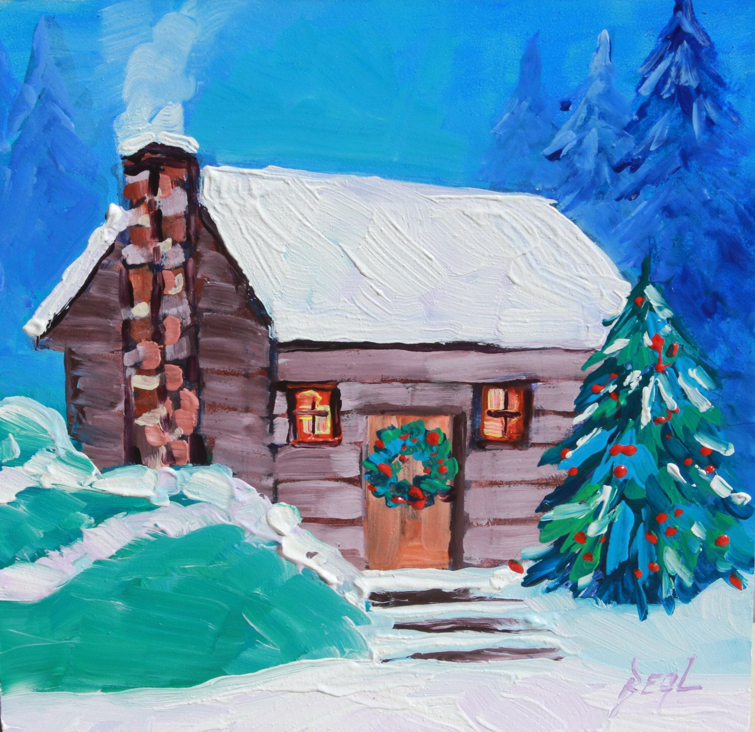Original Art, Oil Painting, Winter painting, Christmas Art, Snowy cabin, Christmas gift, rbealart by rbealart on Etsy https://www.etsy.com/listing/249560340/original-art-oil-painting-winter