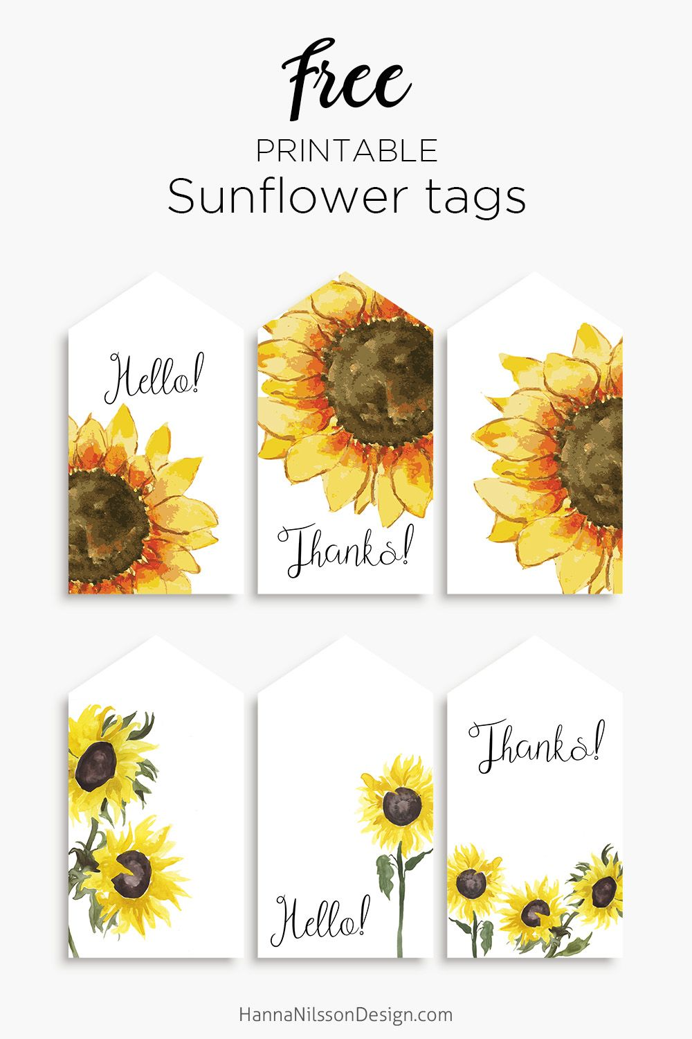 image relating to Printable Pictures of Sunflowers referred to as Sunflower tags Sunflowers Absolutely free printable reward tags, Present
