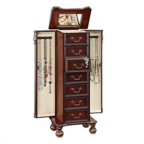 Classic Decorative Wooden Cherry Finish Tall Floor Standing Jewelry
