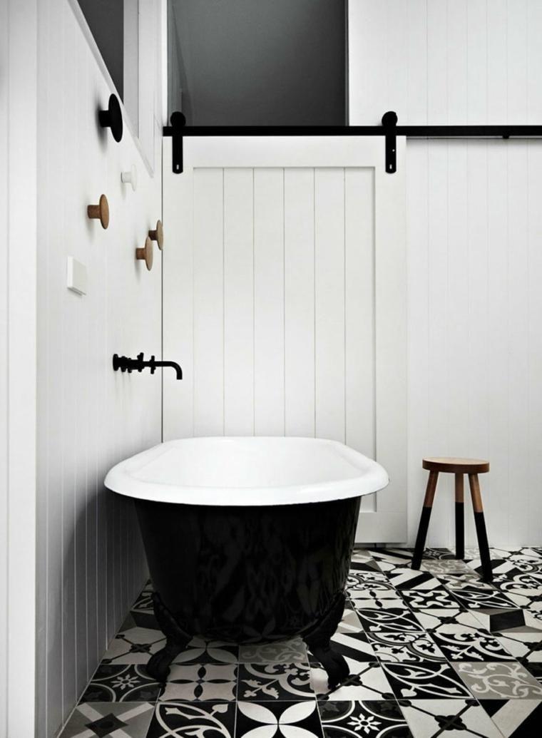 Badezimmer Weiß Schwarz Design Fliesen Design
