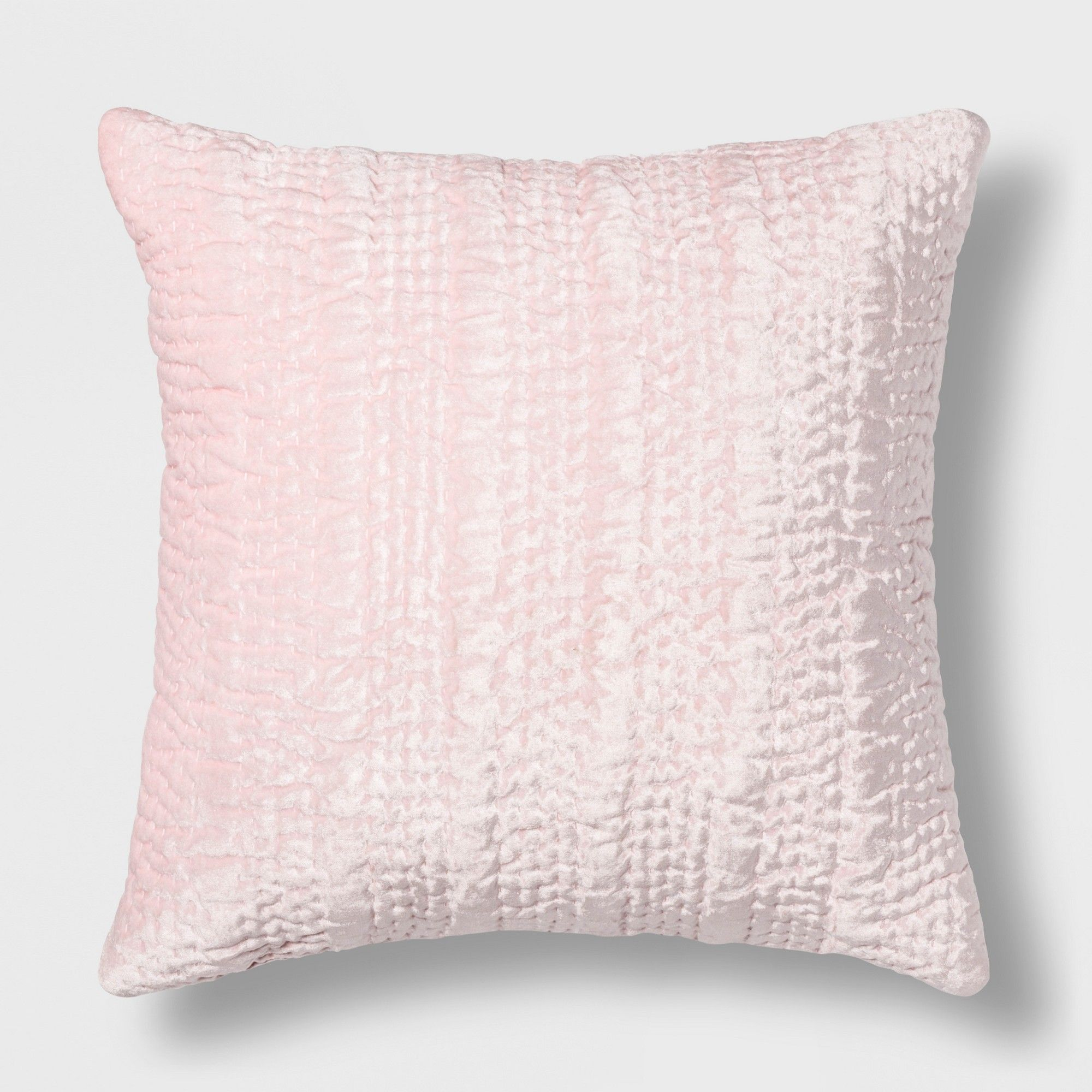 Quilted Velvet Square Throw Pillow Pink Opalhouse