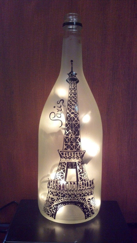 Eiffel Tower Paris Recycled Wine Bottle Lamp Light Etsy Wine Bottle Lamp Recycled Wine Bottles Wine Bottle Diy