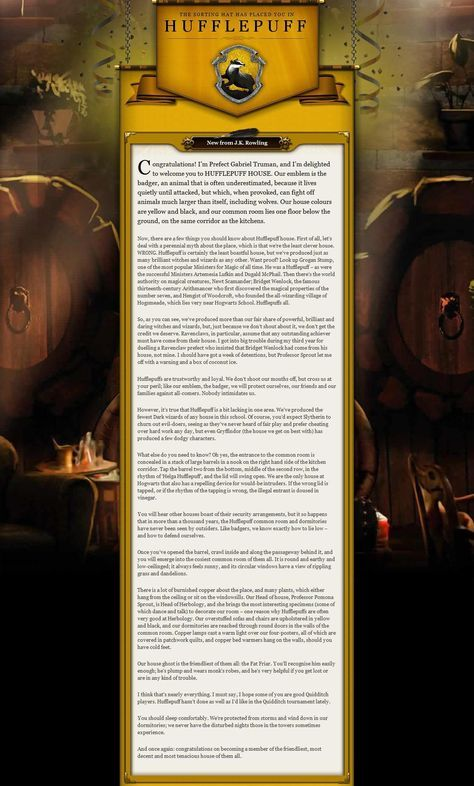 Pottermore Image Hufflepuff Welcome Message Pottermore Harry Potter Universal Hufflepuff