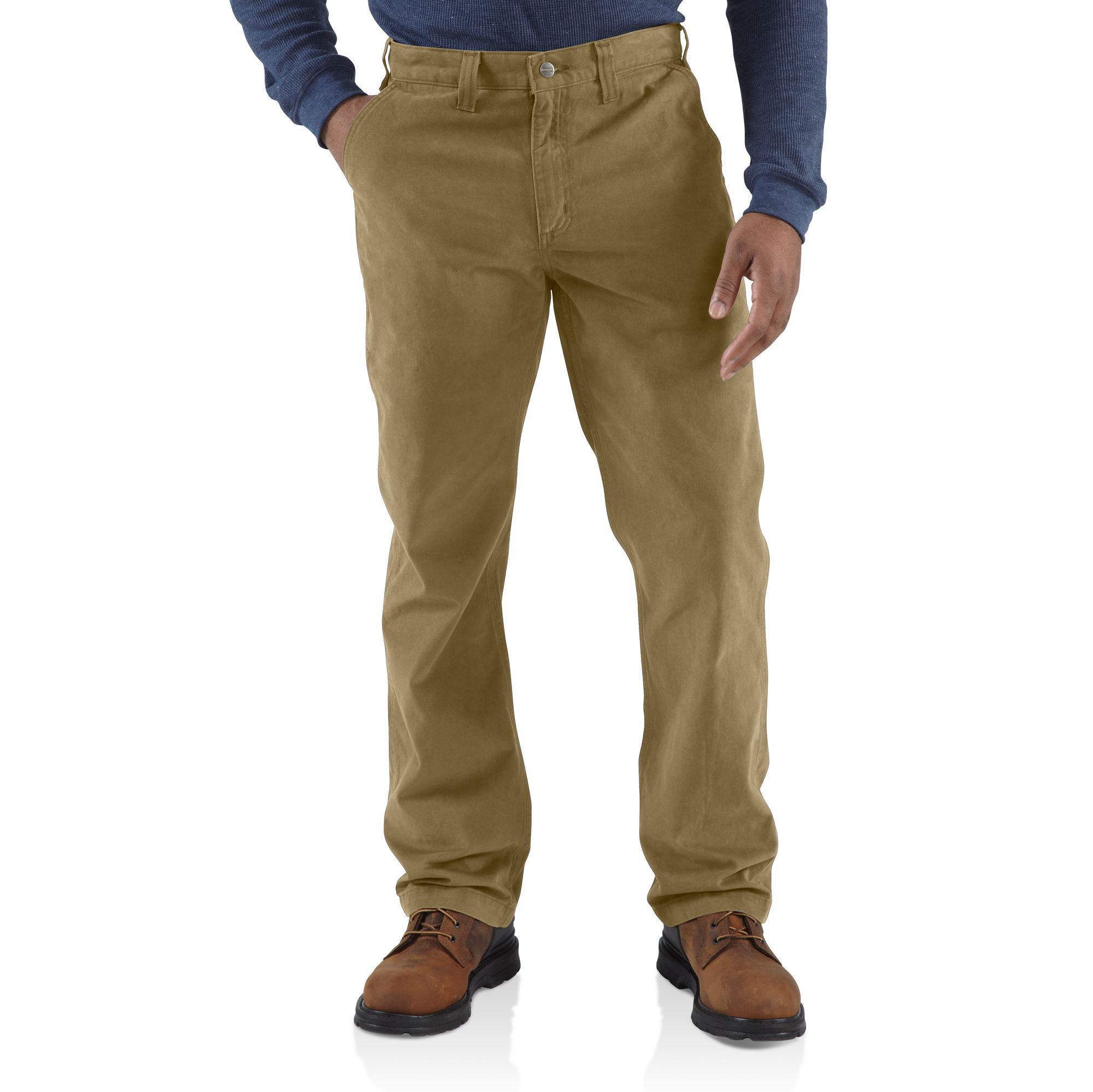 Carhartt Men's Rugged Work Khaki Pant, 38 x 34, Relaxed Fit ...