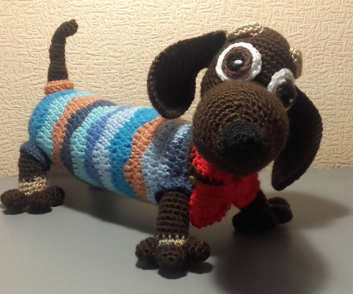 Amigurumi Wiener Dog Pattern : Crochet dachshund dog toy amigurumi handmade cute knitted puppy
