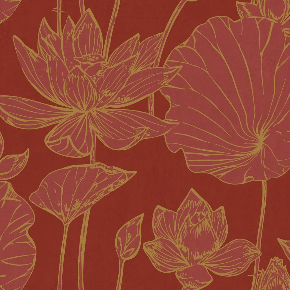 Seabrook Designs Lotus Metallic Gold And Crimson Floral Wallpaper