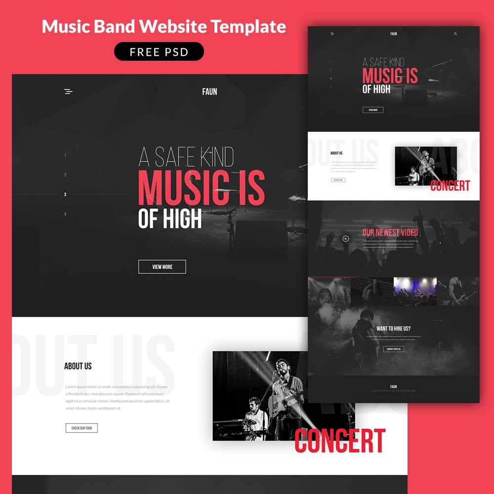 Cool Music Band Website Template PSD. Download Music Band Website ...