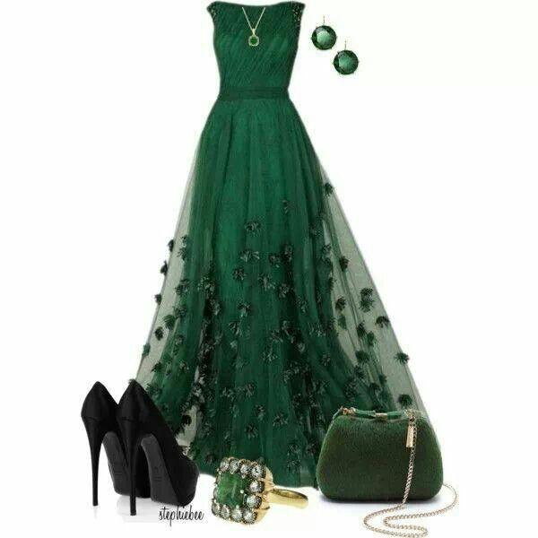 Vestido Largo Verde Zapatos Para Vestido Verde Vestidos