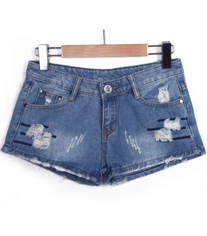 Blue Denim Ripped Pockets Shorts #SheInside