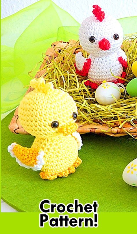 Easter Chicklet and Ducklings Crochet Pattern! - AmVaBe Crochet #eastercrochetpatterns