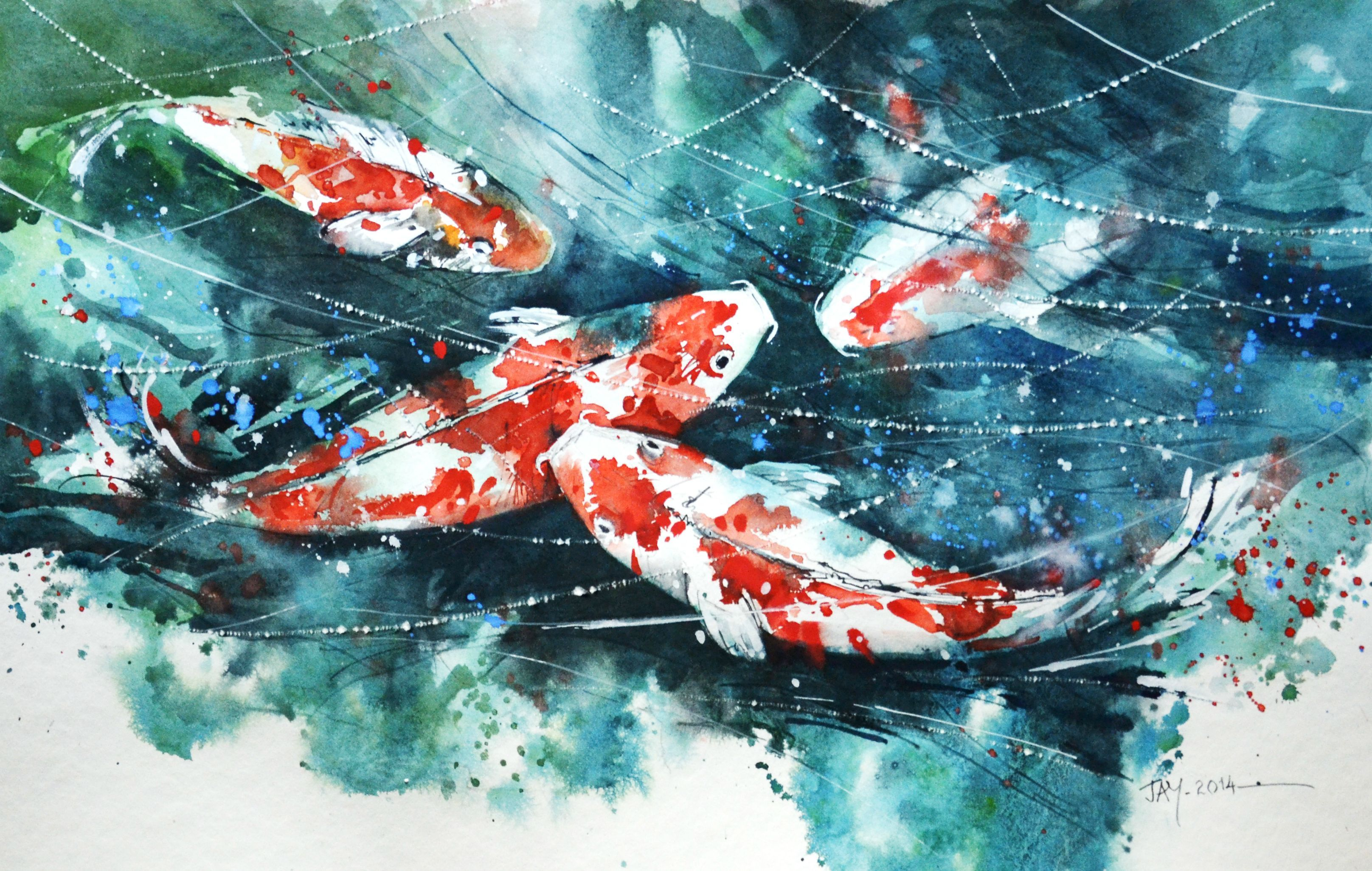 Dad has been painting 2 pieces a week for years he did for Japanese fish painting