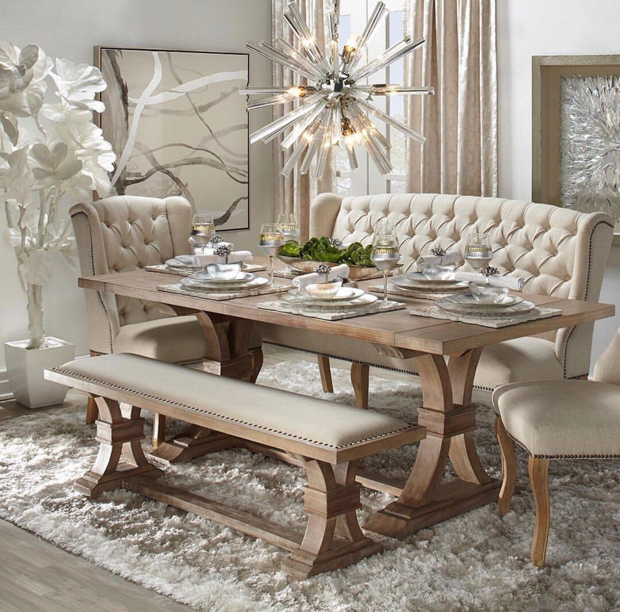 Pin By Simone Chance On New Kitchen With Images Dining Room Table Decor Shabby Chic Dining Room Dining Room Cozy